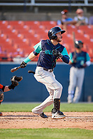 Lynchburg Hillcats third baseman Alexis Pantoja (6) follows through on a swing during the first game of a doubleheader against the Frederick Keys on June 12, 2018 at Nymeo Field at Harry Grove Stadium in Frederick, Maryland.  Frederick defeated Lynchburg 2-1.  (Mike Janes/Four Seam Images)