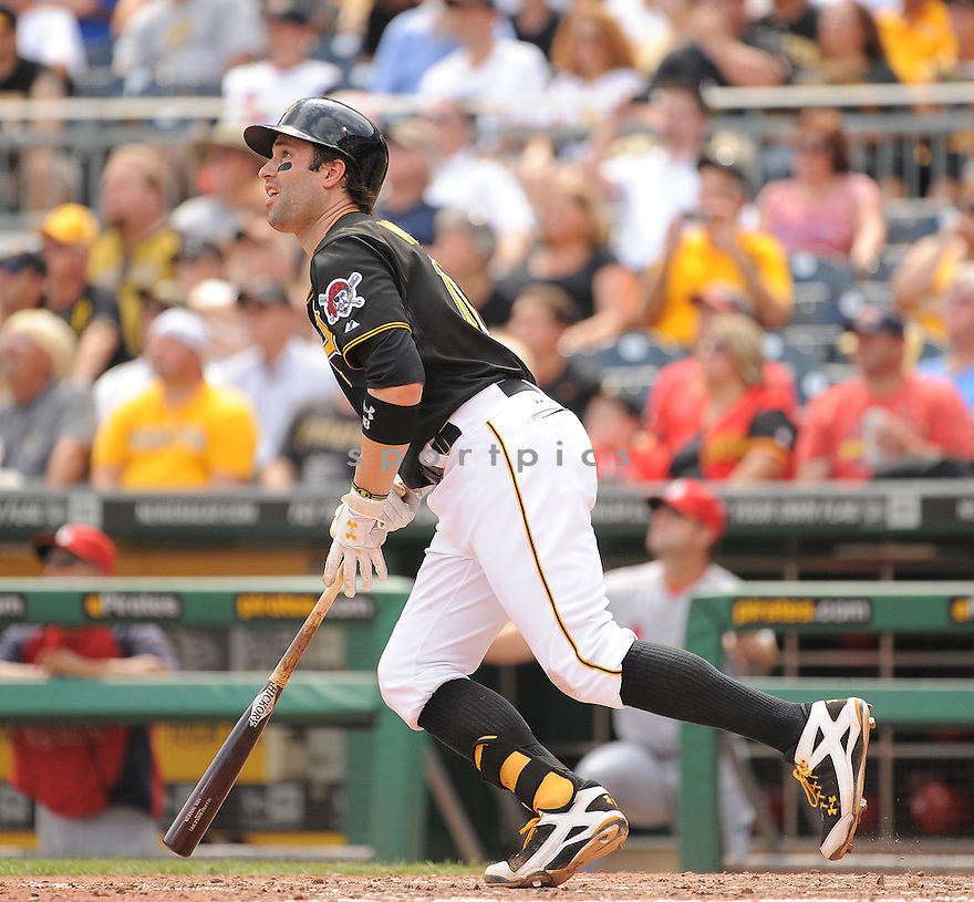 Pittsburgh Pirates Neil Walker (18) during a game against the St. Louis Cardinals on August 27, 2014 at PNC Park in Pittsburgh PA. The Pirates beat the Cardinals 3-1.