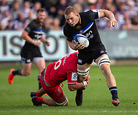 Bath Rugby's Sam Underhill in action during todays match<br /> <br /> Photographer Bob Bradford/CameraSport<br /> <br /> European Rugby Champions Cup - Bath Rugby v Toulouse - Saturday 13th October 2018 - The Recreation Ground - Bath<br /> <br /> World Copyright © 2018 CameraSport. All rights reserved. 43 Linden Ave. Countesthorpe. Leicester. England. LE8 5PG - Tel: +44 (0) 116 277 4147 - admin@camerasport.com - www.camerasport.com