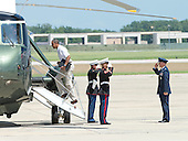 United States President Barack Obama is saluted by the U.S. Marine Guards and a U.S. Air Force Officer as he boards Marine 1 to depart Joint Base Andrews, near Camp Springs, Maryland for a weekend at Camp David following a round of golf on Friday, July 5, 2013.<br /> Credit: Ron Sachs / Pool via CNP