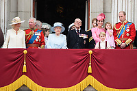 Camilla, Duchess of Cornwall, Prince Andrew, Prince Charles, Queen, Prince Phillip, Catherine Duchess of Cambridge, Princess Charlotte, Prince George and Prince William<br /> on the balcony of Buckingham Palace during Trooping the Colour on The Mall, London. <br /> <br /> <br /> &copy;Ash Knotek  D3283  17/06/2017