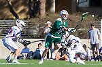 Los Angeles, CA 02/06/16 - Drew Marinelli (Loyola Marymount #22) and Alex Erler (Cal Poly #9)in action during the Cal Poly SLO Mustangs vs Loyola Marymount Lions MCLA Men's Lacrosse game.  Cal Poly defeated LMU 24-5