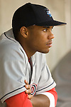 Lakewood BlueClaws shortstop C. J. Henry watches from the bench as his teammates take on the Kannapolis Intimidators at Fieldcrest Cannon Stadium in Kannapolis, NC, Saturday, August 5, 2006.