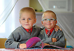 29-08-2013: Twins Jakub and Kacper Plesinski  enjoying their first day at Holy Cross National School, Killarney on Thursday. Picture: Eamonn Keogh (MacMonagle, Killarney)