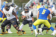 Newark, DE - October 29, 2016: Towson Tigers running back Shane Simpson (13) follow his blocks during game between Towson and Delware at  Delaware Stadium in Newark, DE.  (Photo by Elliott Brown/Media Images International)