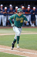 Ryon Healy #25 of the Oregon Ducks runs to first base against the Cal State Fullerton Titans at Goodwin Field on March 3, 2013 in Fullerton, California. (Larry Goren/Four Seam Images)