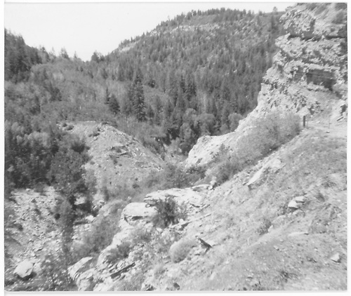 Site of Pleasant Valley Trestle destroyed in flood of 1908.<br /> RGS  Pleasant Valley, CO