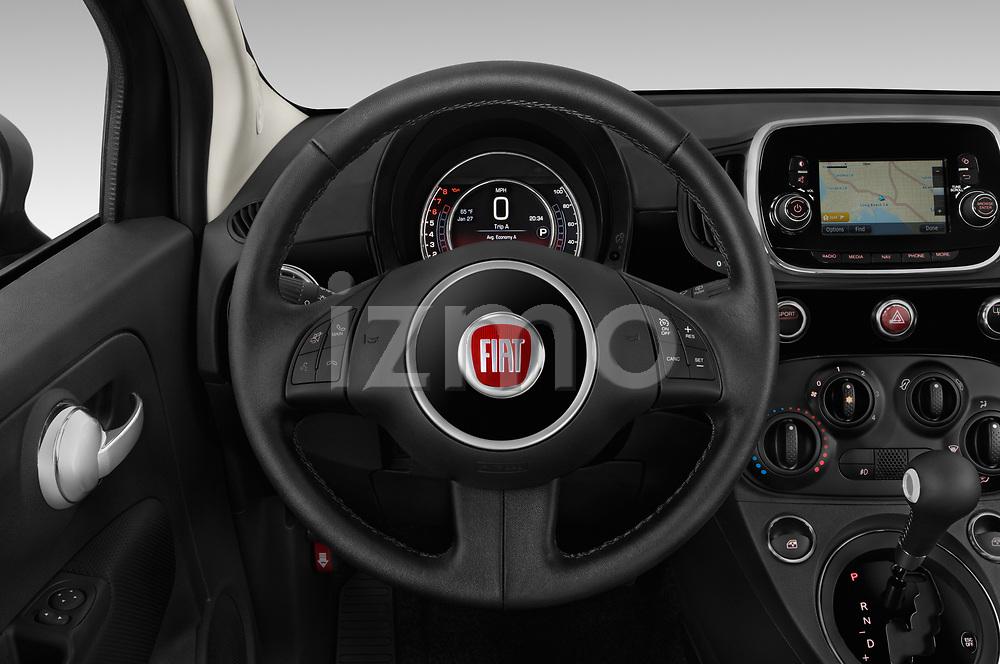 Car pictures of steering wheel view of a 2019 Fiat 500 Pop 3 Door Hatchback Steering Wheel