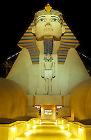 Las Vegas, Luxor, sphinx, casino, Nevada, NV, The Strip, Giant Sphinx at the entrance to Luxor Las Vegas Hotel & Casino on The Strip at night in Las Vegas, the Entertainment Capital of the World.