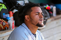 Colorado Springs Sky Sox pitcher Angel Ventura (38) sits in the dugout during game one of a Pacific Coast League doubleheader against the Iowa Cubs on August 17, 2017 at Principal Park in Des Moines, Iowa. Iowa defeated Colorado Springs 1-0. (Brad Krause/Four Seam Images)