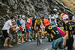 The breakaway group including race leader Yellow Jersey Greg Van Avermaet (BEL) BMC Racing Team during Stage 10 of the 2018 Tour de France running 158.5km from Annecy to Le Grand-Bornand, France. 17th July 2018. <br /> Picture: ASO/Pauline Ballet | Cyclefile<br /> All photos usage must carry mandatory copyright credit (&copy; Cyclefile | ASO/Pauline Ballet)