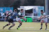 Laurence May looks for Matt Cornish of Ealing Trailfinders during the Championship Cup Quarter Final match between Ealing Trailfinders and Nottingham Rugby at Castle Bar , West Ealing , England  on 2 February 2019. Photo by Carlton Myrie / PRiME Media Images.