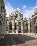 View from Grotekerksbuurt street Grote Kerk, cathedral church, Dordrecht, Netherlands - some wide anglel ens distortion