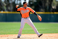 Baltimore Orioles infielder Jonathan Schoop (37) during a minor league Spring Training game against the Boston Red Sox at Buck O'Neil Complex on March 25, 2013 in Sarasota, Florida.  (Mike Janes/Four Seam Images)