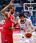 Kosarka FIBA Olympic Basketball Qualifying Tournament<br /> Srbija v Puerto Rico<br /> Milos Teodosic (R) and Ricky Sanchez Rosa<br /> Beograd, 04.07.2016.<br /> foto: Srdjan Stevanovic/Starsportphoto&copy;