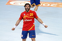 25.01.2013 Barcelona, Spain. IHF men's world championship, Semi-final. Picture show Antonio Jesus Garcia in action during game between Spain vs Slovenia at Palau St. Jordi