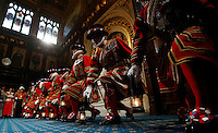 "18 May 2016 - London England - Yeoman warders take part in the traditional ""ceremonial search"" in the Prince's chamber in the houses of Parliament in London. The State Opening of Parliament marks the formal start of the parliamentary year and the Queen's Speech sets out the government's agenda for the coming session. Photo Credit: ALPR/AdMedia"