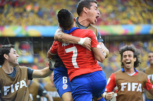 28.06.2014. Belo Horizonte, Brazil. Chiles Alexis Sanchez (No.7) celebrates his equalising goal during a Round of 16 match between Brazil and Chile of 2014 FIFA World Cup at the Estadio Mineirao Stadium in Belo Horizonte, Brazil, on June 28, 2014.