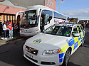 The Aberdeen Team Bus gets a police escort as it arrives late (appx 2.30 pm) at Tannadice after being caught up in a delay caused by a fatality on the A90 as they headed south ...