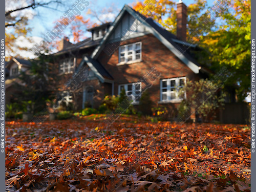 Large family house in fall. Toronto, Ontario, Canada. Selective phocus photograph.