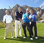 HOPE20ripK.jpg.( 01/19/11, La Quinta, Metro ) (From left) Amateur Gregg Grant, golf pro Matt Kuchar, musician Don Felder and actor Joel Gretsch pretend to be in a band on the 10th tee at Silver Rock Resort in La Quinta during the 2011 Bob Hope Classic on Wednesday. (Rodrigo Pena/Special to The Press-Enterprise)