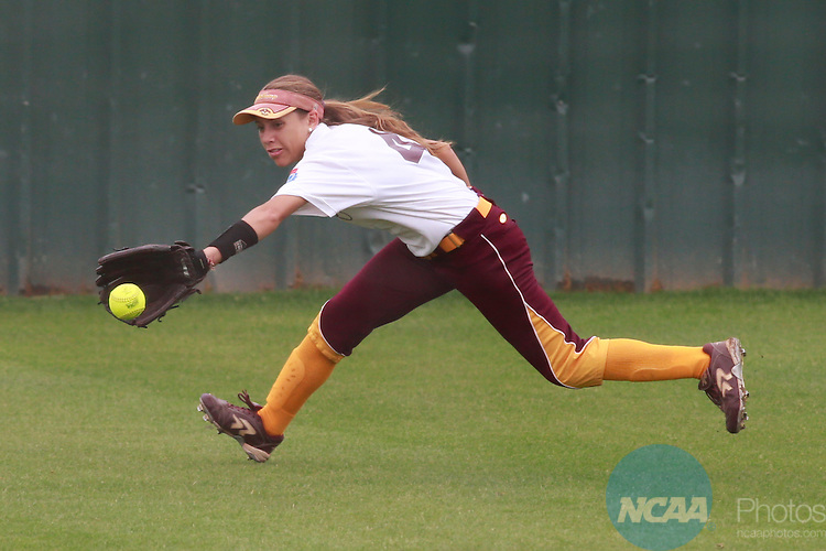 27 MAY 2014:  Angelia McDowell (4) of Salisbury University fields a base hit in the sixth inning of the game against Tufts University during the Division III Women's Softball Championship held at the UT Tyler Ballpark in Tyler, TX.  Tufts defeated Salisbury 6-0 for the national title. Tim Heitman/NCAA Photos