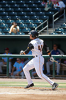 Jacksonville Suns infielder Viosergy Rosa (44) at bat during a game against the Tennessee Smokies at Bragan Field on the Baseball Grounds of Jacksonville on June 13, 2015 in Jacksonville, Florida.  Tennessee defeated Jacksonville 12-3. (Robert Gurganus/Four Seam Images)