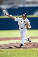 Michigan Wolverines pitcher Karl Kauffmann (37) delivers a pitch to the plate against the San Jose State Spartans on March 27, 2019 in Game 1 of the NCAA baseball doubleheader at Ray Fisher Stadium in Ann Arbor, Michigan. Michigan defeated San Jose State 1-0. (Andrew Woolley/Four Seam Images)