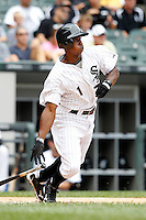 Chicago White Sox outfielder Juan Pierre #1 at bat during a game against the Kansas City Royals at U.S. Cellular Field on August 14, 2011 in Chicago, Illinois.  Chicago defeated Kansas City 6-2.  (Mike Janes/Four Seam Images)
