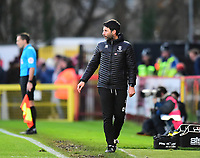 Lincoln City manager Danny Cowley shouts instructions to his team from the technical area<br /> <br /> Photographer Andrew Vaughan/CameraSport<br /> <br /> The EFL Sky Bet League Two - Stevenage v Lincoln City - Saturday 8th December 2018 - The Lamex Stadium - Stevenage<br /> <br /> World Copyright © 2018 CameraSport. All rights reserved. 43 Linden Ave. Countesthorpe. Leicester. England. LE8 5PG - Tel: +44 (0) 116 277 4147 - admin@camerasport.com - www.camerasport.com