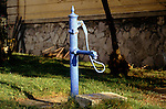 Czech Republic. Village pump painted blue.