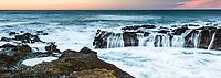 Dawn on wild coast in Punakaiki, Paparoa National Park, Buller Region, West Coast, New Zealand, NZ