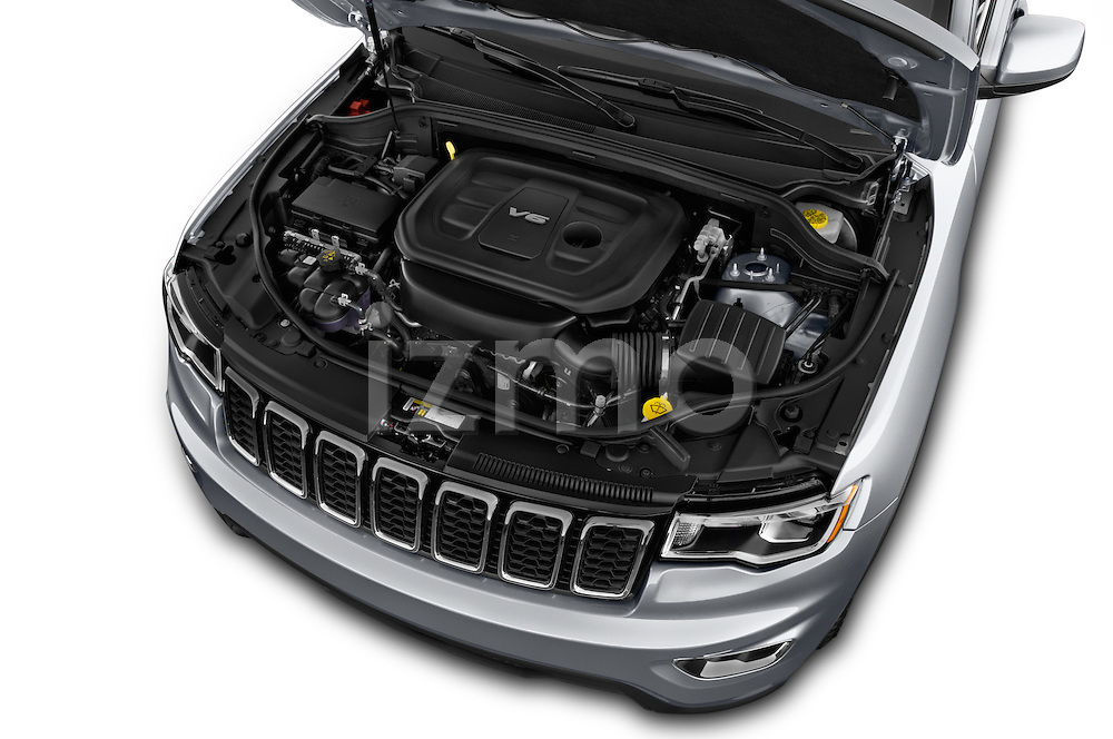 Car Stock 2017 JEEP Grand-Cherokee Laredo 5 Door SUV Engine  high angle detail view