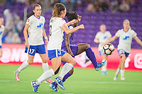 Orlando, FL - Saturday June 03, 2017: Brooke Elby, Jasmyne Spencer during a regular season National Women's Soccer League (NWSL) match between the Orlando Pride and the Boston Breakers at Orlando City Stadium.