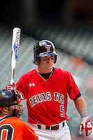 Texas Tech Red Raiders catcher Hunter Redman #5 in action during the NCAA baseball game against the Sam Houston State Bearkats on March 1, 2014 during the Houston College Classic at Minute Maid Park in Houston, Texas. The Bearkats defeated the Red Raiders 10-6. (Andrew Woolley/Four Seam Images)