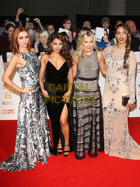 The Saturdays - Una Healy, Vanessa White, Mollie King and Rochelle Wiseman<br /> The Daily Mirror's Pride of Britain Awards arrivals at the Grosvenor House Hotel, London, England.<br /> 7th October 2013<br /> full length black grey gray beige pattern stripe print dress band group slit split <br /> CAP/ROS<br /> &copy;Steve Ross/Capital Pictures