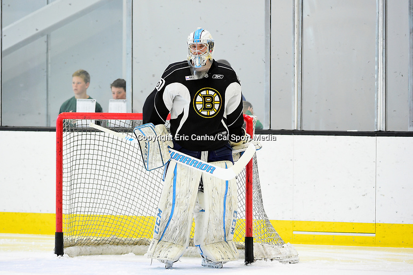 July 7, 2017: Boston Bruins goalie Robert McGovern (60) tends the net during the Boston Bruins development camp held at Warrior Ice Arena in Brighton, Massachusetts. Eric Canha/CSM