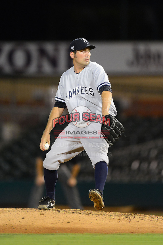 Tampa Yankees pitcher David Herndon (52) during a game against the Jupiter Hammerheads on July 17, 2013 at Roger Dean Stadium in Jupiter, Florida.  Jupiter defeated Tampa 4-3.  (Mike Janes/Four Seam Images)