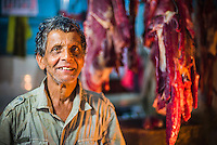 Kandy market, portrait of a butcher, Kandy, Central Province in the Sri Lanka Highlands, Asia. This is a portrait of a butcher in Kandy market in Kandy in Central Province in the Sri Lanka Highlands, Asia