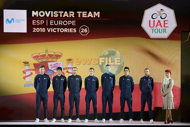 Movistar Team on stage at the inaugural UAE Tour 2019 opening ceremony and team presentation held in the Louvre Abu Dhabi, United Arab Emirates. 23rd February 2019.<br /> Picture: LaPresse/Fabio Ferrari | Cyclefile<br /> <br /> <br /> All photos usage must carry mandatory copyright credit (© Cyclefile | LaPresse/Fabio Ferrari)