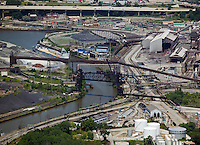 aerial view above Cleveland Ohio industrial area steel mills Cuyahoga river USA