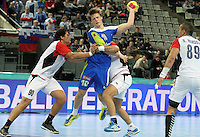 21.01.2013 Barcelona, Spain. IHF men's world championship, Eighth Final. Picture show Jure Dolenec  in action during game slovenia vs Egypt at Palau St Jordi