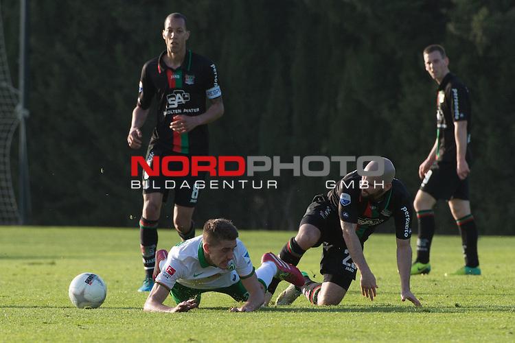 Trainingsgel&auml;nde, Jerez, ESP, 1.FBL, FSP  Werder Bremen (GER)  vs NEC Nijmegen (NED),  12.01.2014, <br /> <br /> Samuel &Scaron;tef&aacute;nik (NEC #23)<br /> Nils Petersen (Bremen #24)<br /> Ryan Koolwijk (NEC #8)<br /> <br /> Foto &copy; nordphoto/ Kokenge