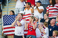 USA fans celebrate a goal. The United States (USA) women defeated China PR (CHN) 4-1 during an international friendly at PPL Park in Chester, PA, on May 27, 2012.