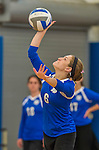18 October 2015: Yeshiva University Maccabee Setter and Defensive Specialist Yael Ghelman, a Sophomore from Houston, TX, serves during game action against the Sage College Gators, at the Peter Sharp Center, College of Mount Saint Vincent, in Riverdale, NY. The Gators defeated the Maccabees 3-0 in the NCAA Division III Women's Volleyball Skyline matchup. Mandatory Credit: Ed Wolfstein Photo *** RAW (NEF) Image File Available ***