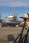 Port Townsend, fishing boat, on the hard, salmon seiner Veteran, Gig Harbor, Boat Haven Marina, Jefferson County, Olympic Peninsula, Washington State, Pacific Northwest, USA, wooden boats,