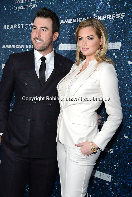 Kate Upton and Justin Verlander attend the Stella McCartney Honored Lincoln Center Gala on November 13, 2014 at Alice Tully Hall in New York City, USA. She was given the Women's Leadership Award which was presented bythe LIncoln Center for the Performing Arts' Corporate Fund.<br /> <br /> photo by Robin Platzer/Twin Images<br />  <br /> phone number 212-935-0770