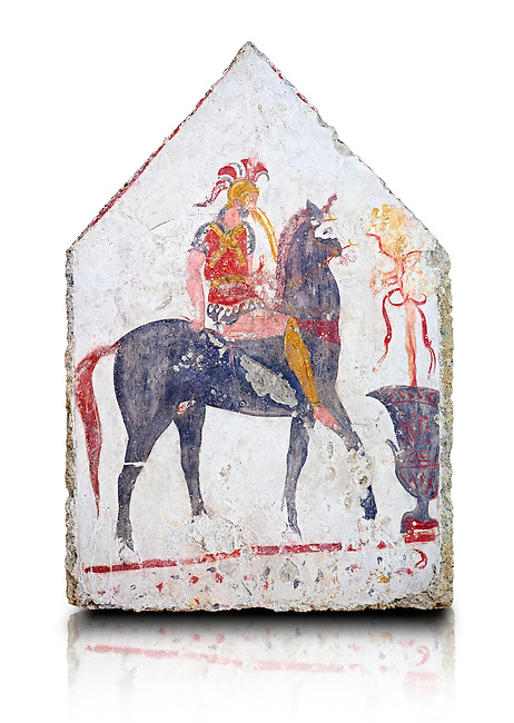 Lucanian fresco tomb painting of a soldier on a horse. Paestrum, Andriuolo. Tomb 58 ( 330-320 BC )