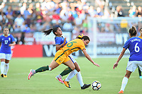 Carson, CA - Thursday August 03, 2017: Hayley Raso during a 2017 Tournament of Nations match between the women's national teams of Australia (AUS) and Brazil (BRA) at the StubHub Center.