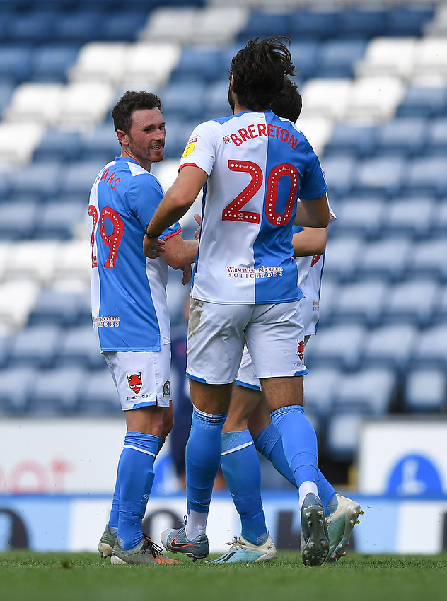 Blackburn Rovers' Corry Evans is congratulated on his long range goal<br /> <br /> Photographer Dave Howarth/CameraSport<br /> <br /> The EFL Sky Bet Championship - Blackburn Rovers v Bristol City - Saturday 20th June 2020 - Ewood Park - Blackburn<br /> <br /> World Copyright © 2020 CameraSport. All rights reserved. 43 Linden Ave. Countesthorpe. Leicester. England. LE8 5PG - Tel: +44 (0) 116 277 4147 - admin@camerasport.com - www.camerasport.com